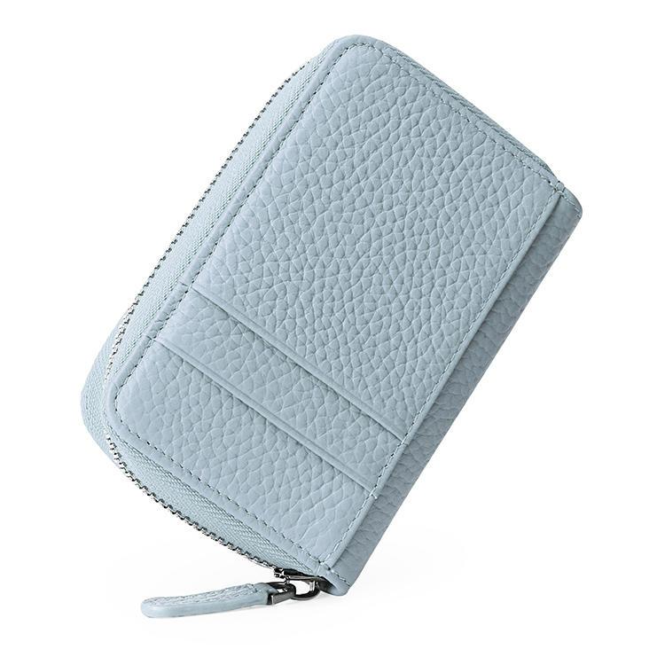 Genuine Leather Key Zipper Wallet RFID Function Slim Card Holder Wallet