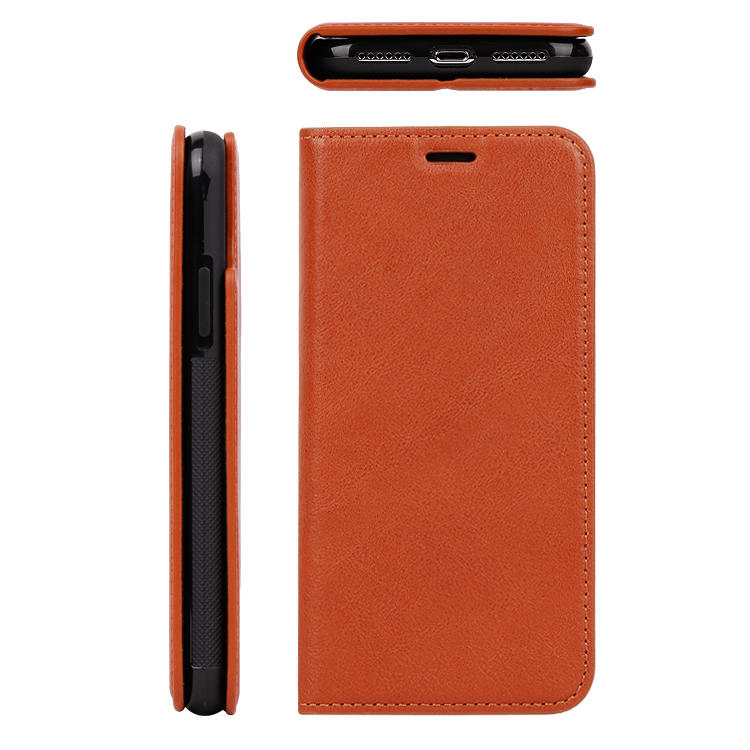 Vegetable Tanned Leather Wallet Cell Phone Case For IPhone X/XS/XS MAX Case