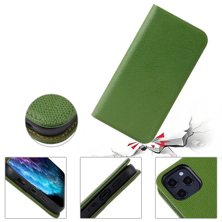 Luxury Genuine Leather Case For iphone 12 Stand Function Wallet Phone Case