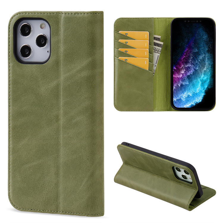 For iPhone 12 Case, Flip wallet phone case cell phone genuine leather back cover cases for iPhone 12 with card slots
