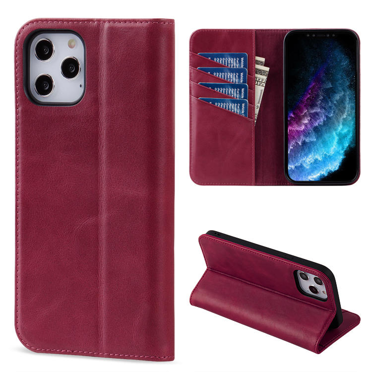 Flip wallet phone case genuine leather case custom Logo clip Mobile Phone cover cases For iPhone 12 Case with card slots