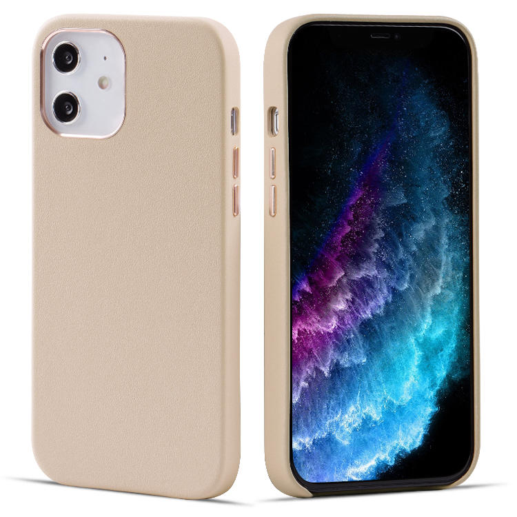 Real Leather Mobile Phone Case For iPhone 12 Pro Max Support Wireless Charging Function