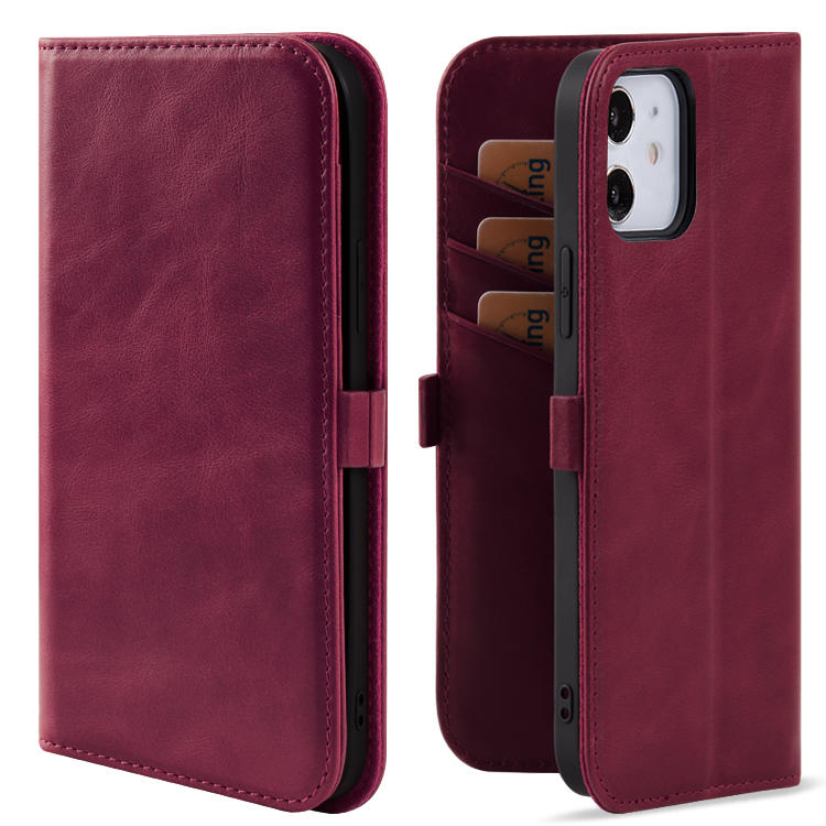 Genuine Leather Smartphone Mobile Wallet Phone Case Stand Design Slot Wallet Case With Card For iPhone 12