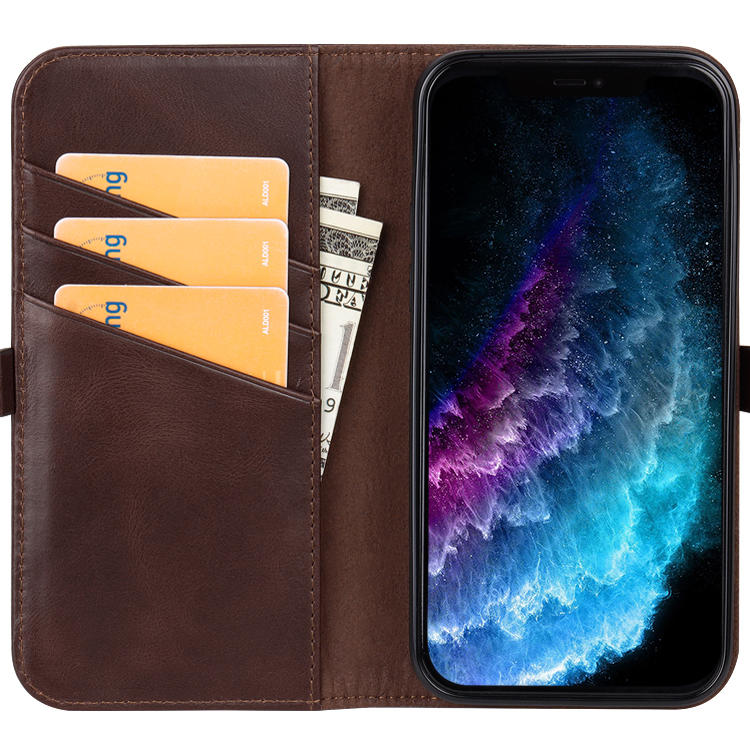 For iPhone 12/12 Pro/12 Pro Max Leather Phone Case With Premium Serie Genuine Leather Wallet Phone Case