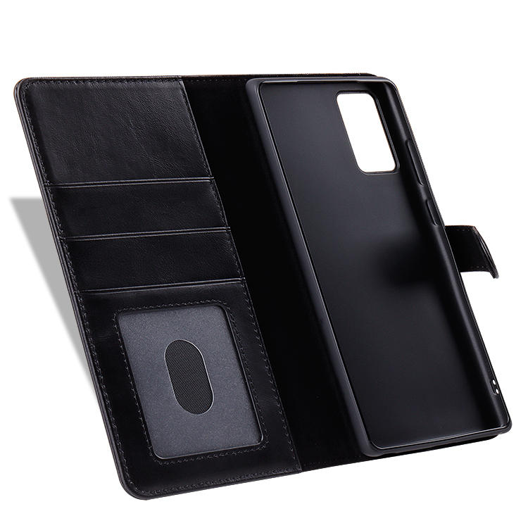 First Layer Cowhide Leather Phone Case With Card Slot Function For Samsung Note  20