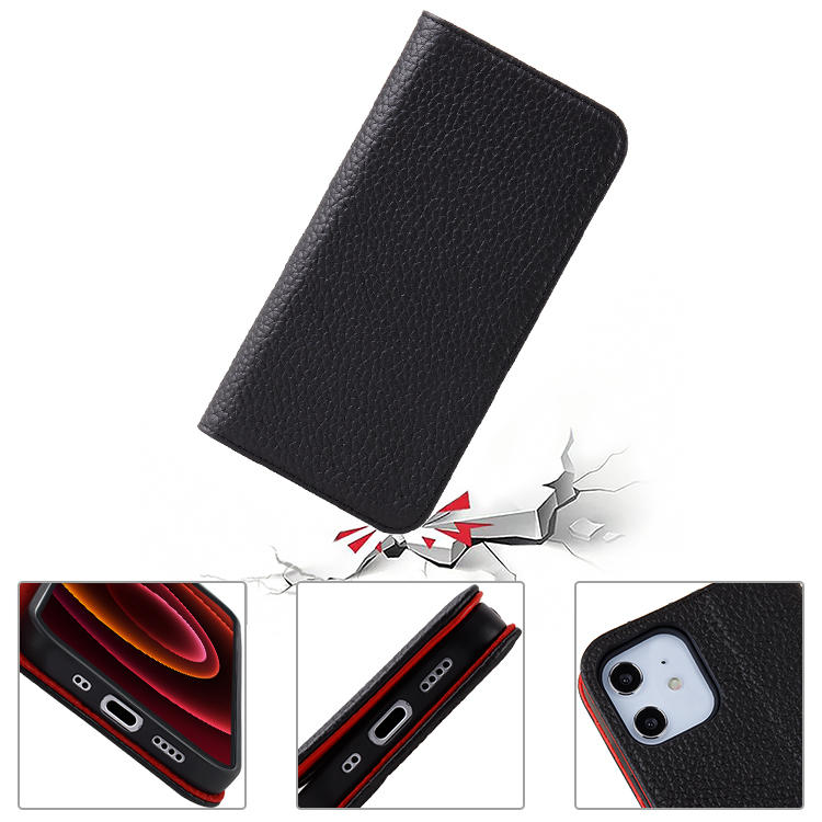 Shockproof Wallet Card Holder Genuien Leather Flip Mobile Phone Cover Case For iphone 12 Pro Max