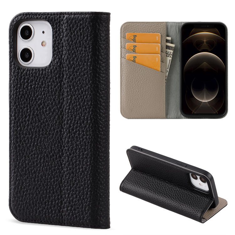 Genuine Leather Folding edge Technology  Wallet Case for iPhone 12 12 Pro Max Luxury Card Slot