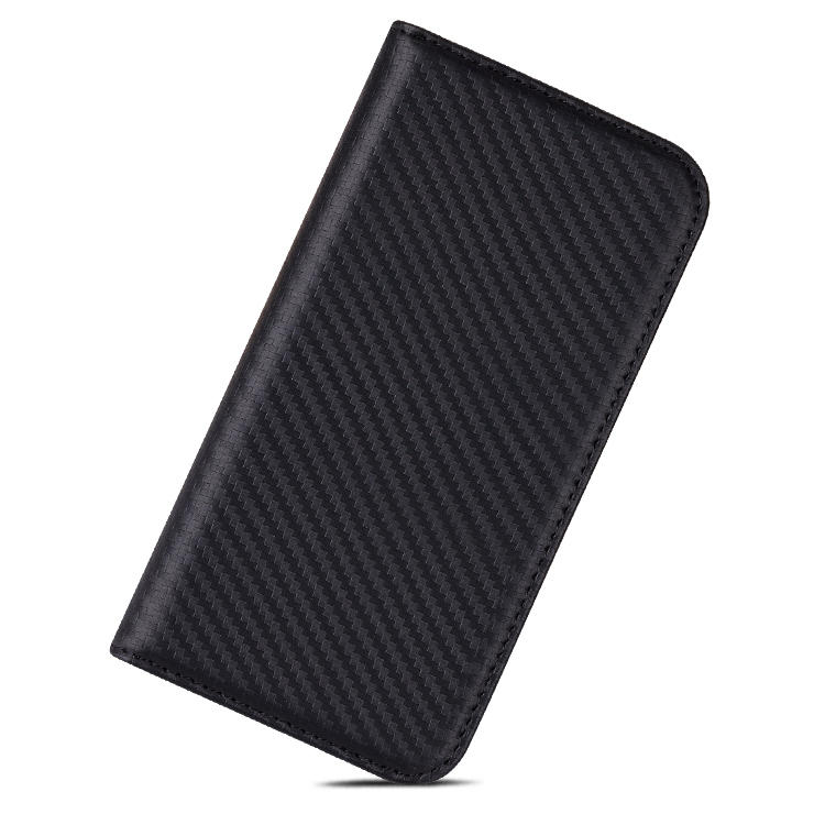 Carbon Fibre Genuine Leather Wallet Phone Case For Iphone 12 Pro Max