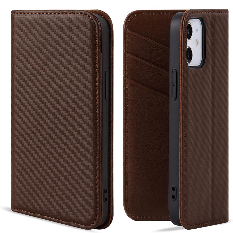 For iphone 12 Premium Carbon fiber Leather Flip Wallet Phone case