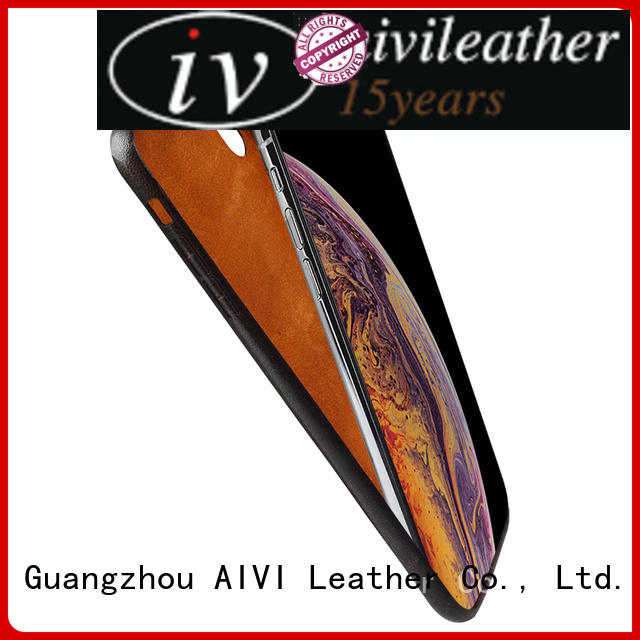 AIVI apple tan leather case factory for phone XS Max