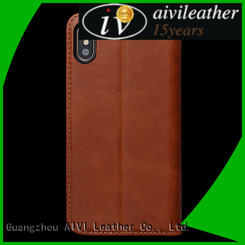 AIVI durable apple tan leather case supply for iphone XS