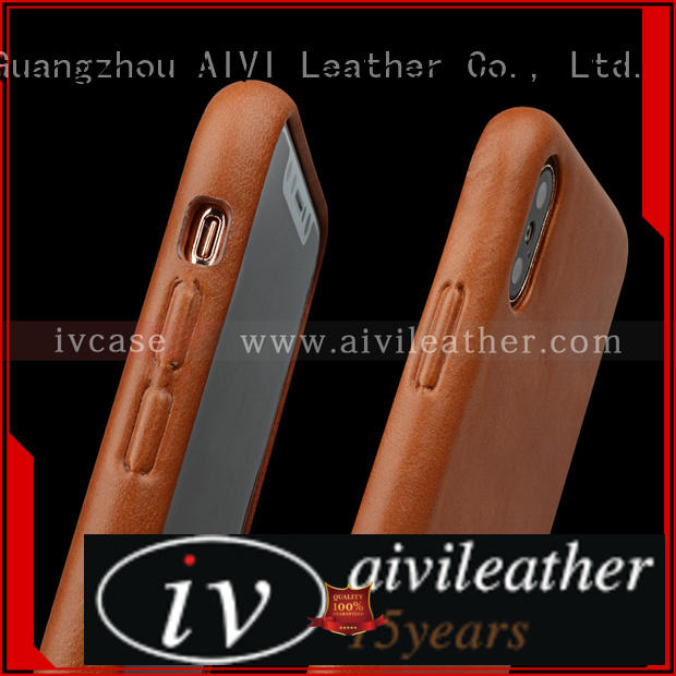 cool apple tan leather case flip accessories for phone XS Max