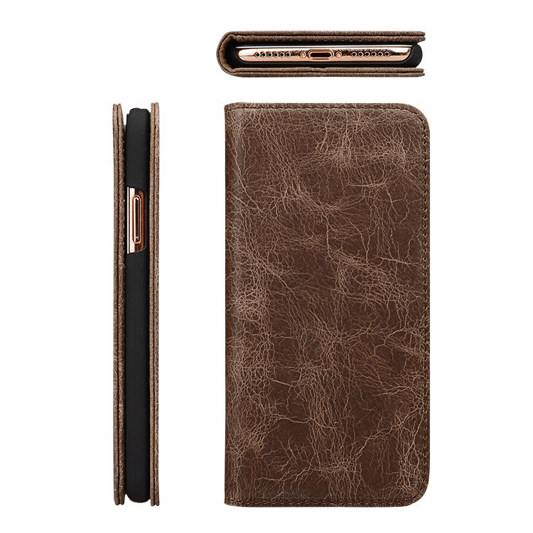 Crazy Horse Leather genuine leather wallet phone case for iphone XS-3