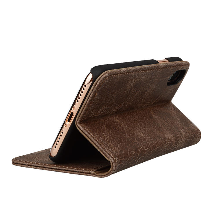 Crazy Horse Leather genuine leather wallet phone case for iphone XS-1